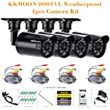 KKmoon Kit 4 Cámara Bala de Vigilancia 800TVL CCTV Lente 3.6mm Video 24 LED IR-CUT, Negro