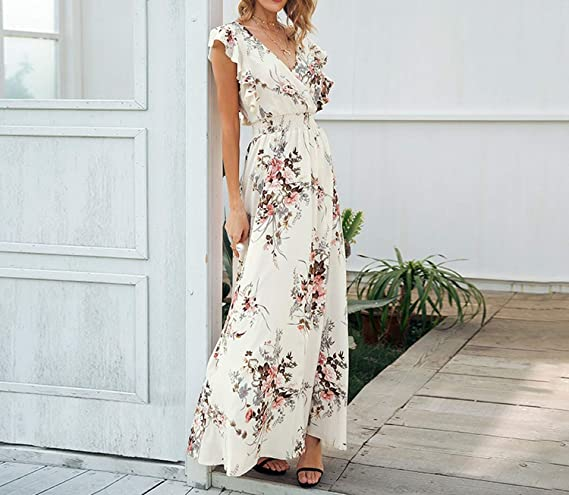 Backless Bow Print Long v Neck tie up Casual Beach Chic Boho Maxi Vestidos at Amazon Womens Clothing store: