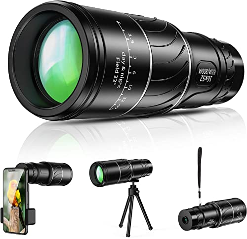 Monocular Telescope, 16×52 High Power BAK4 HD Monocular with Smartphone Holder Tripod for Adults Waterproof Night Vision with Durable and Clear Prism Dual Focus for Bird Watching, Camping, Travelling