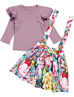 T TALENTBABY Toddler Baby Girls Long Sleeves Ruffle Romper Tops+Floral Overall Sets
