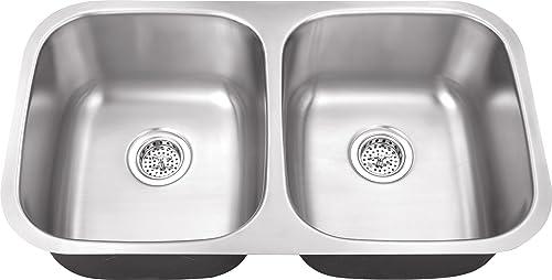 Schon SC505016 Undermount 16-Gauge 50 50 Sink 32 1 4-Inch by 18 1 2-Inch Kitchen Sink, Stainless Steel