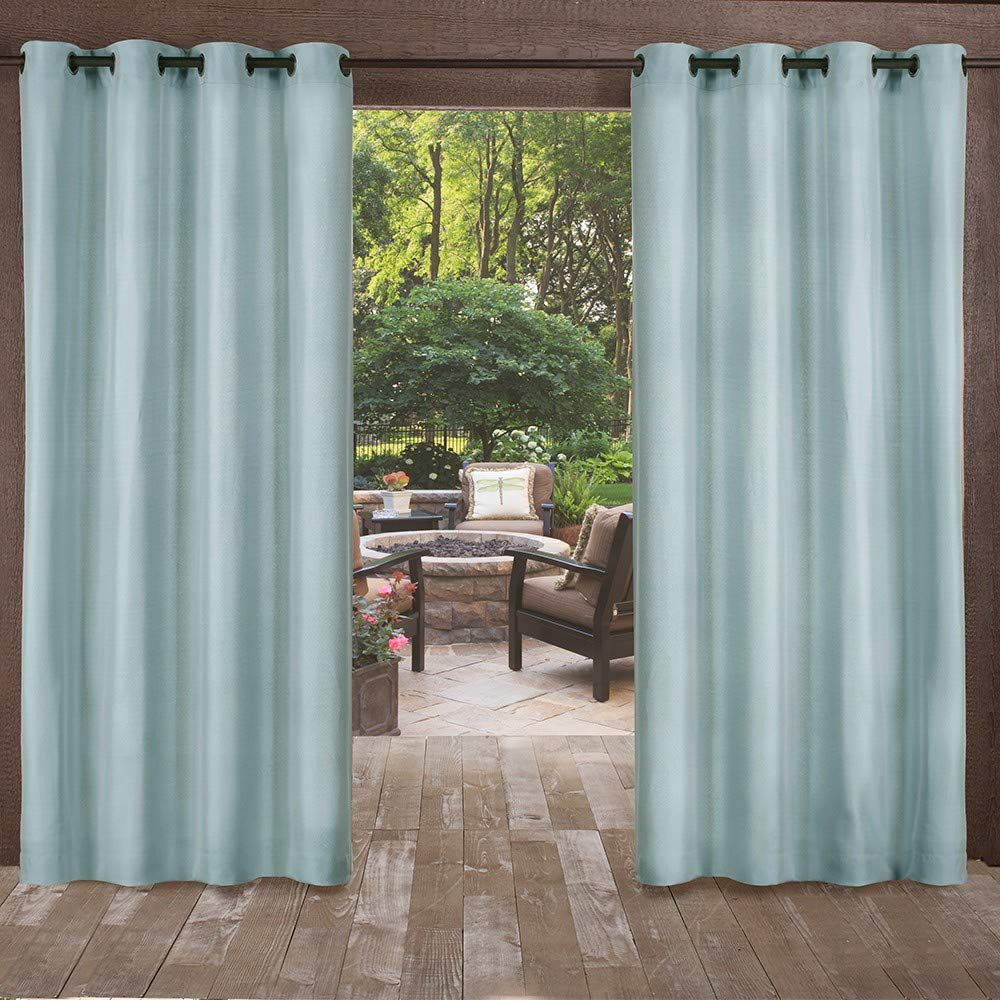 Exclusive Home Curtains Biscayne Grommet Top Panel Pair, Pool Blue, 54x96, 2 Piece