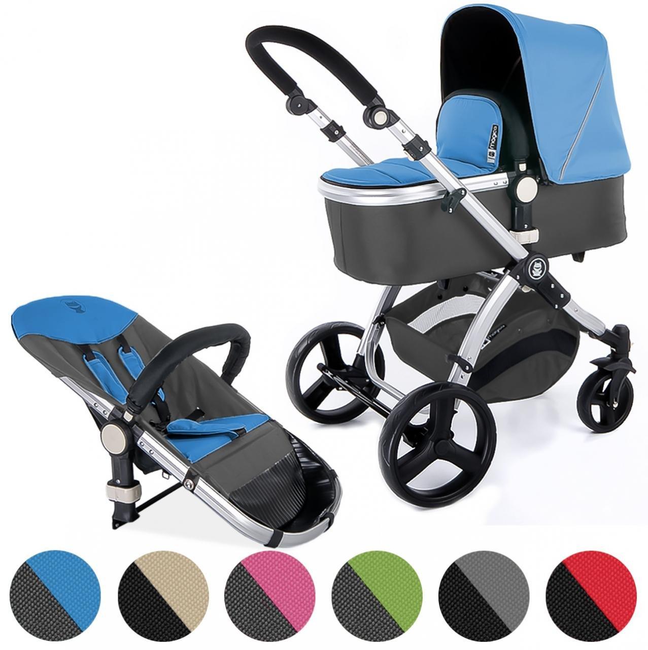 Froggy Kinderwagen MAGICA Kombikinderwagen Sportwagen Buggy Kinderwagenset 2 in1 mit Babywanne und Sportsitz Blau