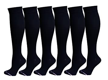 de478a04eb2 Image Unavailable. Image not available for. Color  6 Pairs Pack Women Dr  Motion Graduated Compression Knee High Socks (Black) ...
