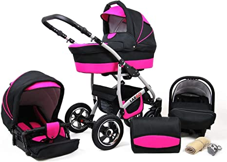 Travel System Stroller Pram Pushchair 2in1 3in1 Set Isofix New L-Go by SaintBaby Pink Owl 2in1 Without Baby seat