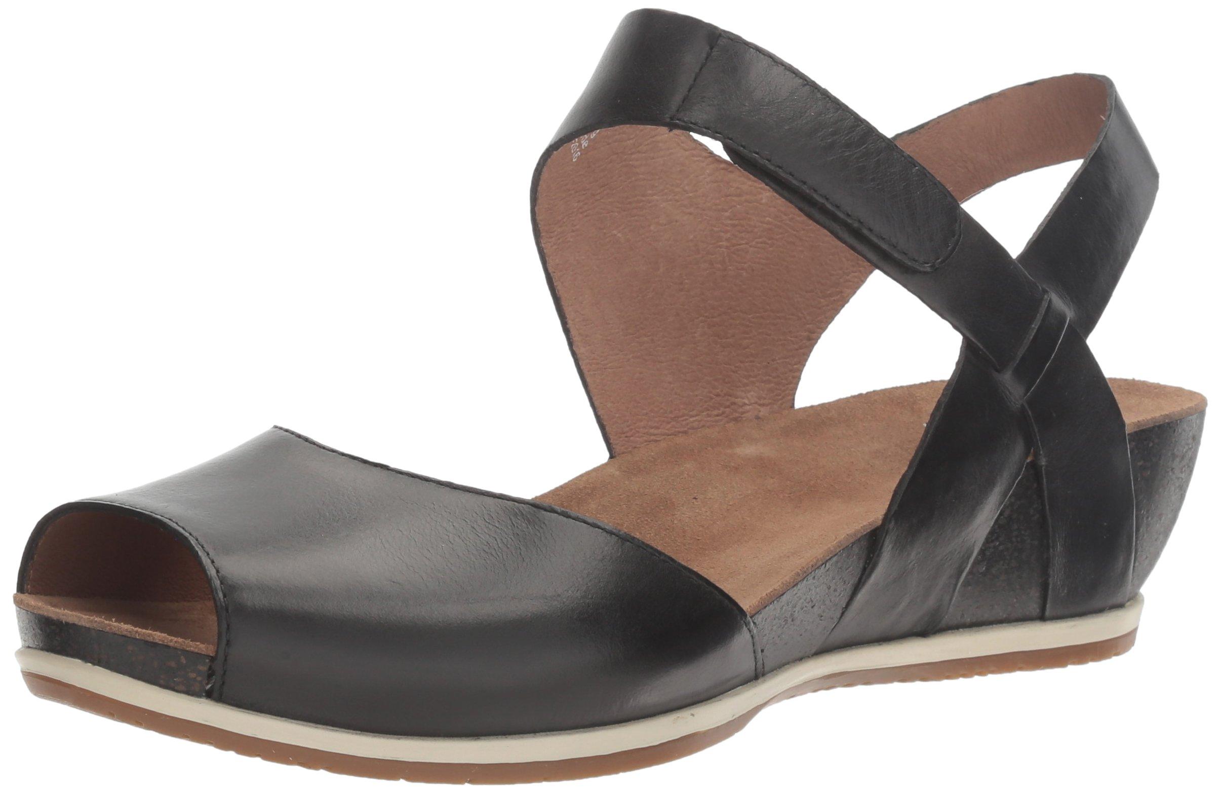 Dansko Women's Vera Flat Sandal, Black Burnished, 37 M EU (6.5-7 US) by Dansko