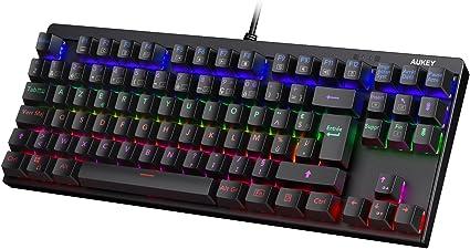 AUKEY Clavier Mécanique LED Rétro éclairé Clavier Gaming avec Blue Switch, 88 Touches (AZERTY Français) 100% Anti Ghosting avec Structure en Métal et