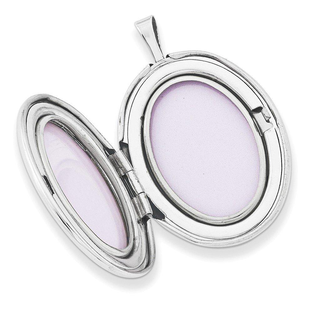 26mm x 21mm Mia Diamonds 925 Sterling Silver Crystal Trinity Oval Locket