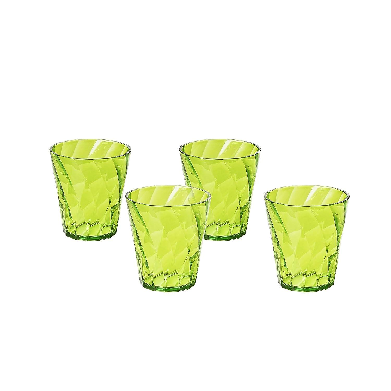 linea Diamond Colore Verde Trasparente resistenti e lavabili in lavastoviglie Made in Italy in Plastica Infrangibile Omada Design Set 4 Bicchieri Colorati Acqua da 35 cl Impilabili