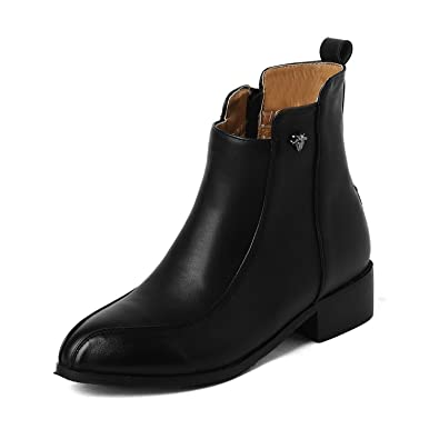 Women's Soft Material Zipper Round Closed Toe Low-Heels Low-top Boots