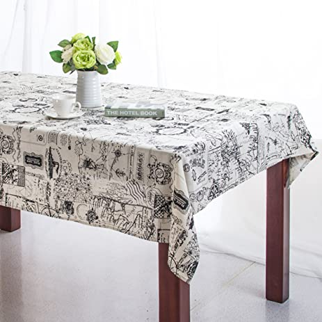 Bringsine Square Cotton Linen World Map Washable Tablecloth Vintage  Rectangle Dinner Picnic Table Cloth Home Decoration