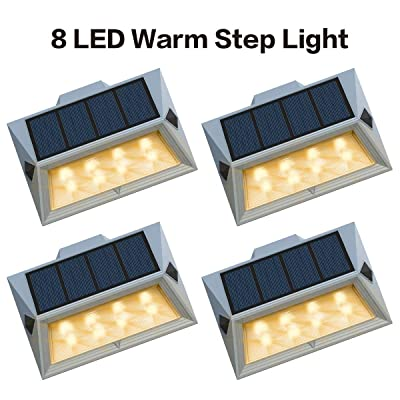 Roopure【Newest Version Warm 8 LED】Warm White Solar Deck Lights Outdoor Decorative Solar Step Lights Waterproof Lighting for Stair Garden Wall Paths Patio Decks Auto On/Off 4 Pack