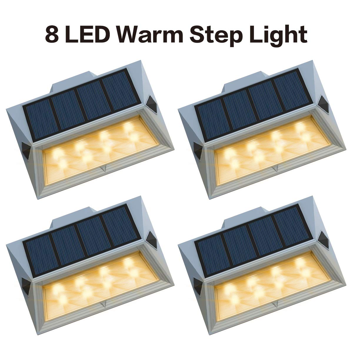 Roopure【Newest Version Warm 8 LED】Warm White Solar Deck Lights Outdoor Decorative Solar Step Lights Waterproof Lighting for Stair Garden Wall Paths Patio Decks Auto On/Off 4 Pack by Roopure