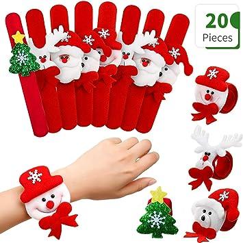 Ucradle Pulsera bofetada Navidad,20 Piezas superhéroe Slap Pulsera Snap Pulsera, Banda de Pulsera, Navidad Pulseras Fiesta Juguetes de Infantil Rellenos de Bolsa de Fiesta para niños niñas: Amazon.es: Juguetes y juegos