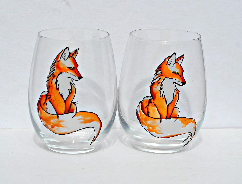 Amazon Com Red Fox Hand Painted Stemless Wine Glass Set Of 2 Fall Home Decor Handmade