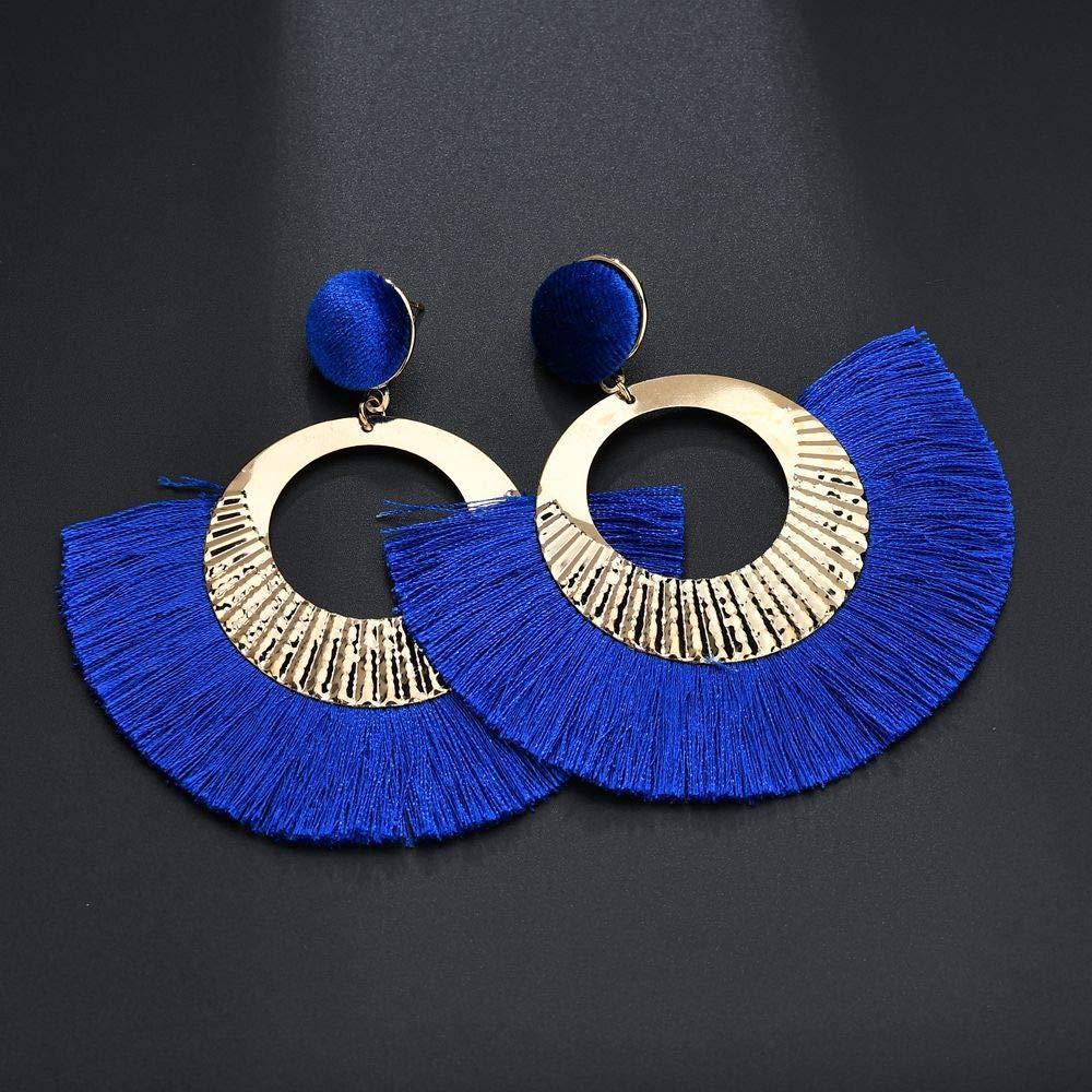 Lucky zhou Euro-American Personality Bohemian Ethnic Wind Geometry Disc Fan-Shaped Daliushu Earrings