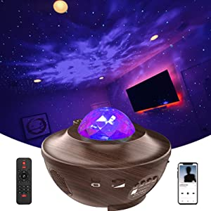 Galaxy Projector, LED Night Light Star Projector for Ceiling for Adults Gifts Ocean Wave Projector for Bedroom Music Projector with Bluetooth Music Speaker Remote Control Relaxation Ambiance
