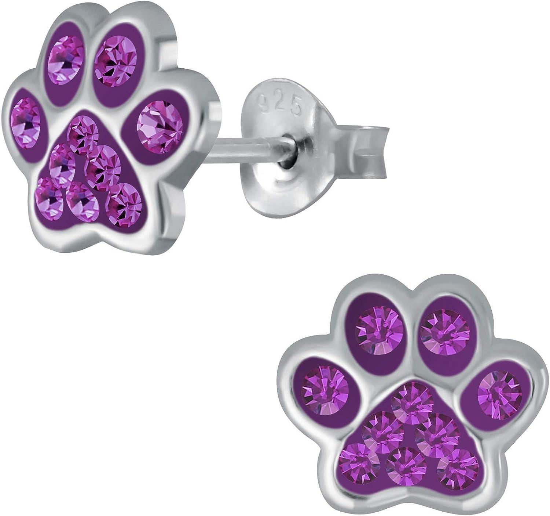 Laimons - Pendientes infantiles para niña, diseño de huella de perro, con purpurina en lila, 7 mm, plata de ley 925