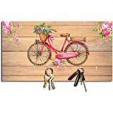 Studio Shubham Floral Cycle Wooden Key Holder (23.4cm X 12.8cm X 3cm, Brown)