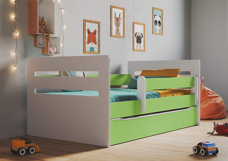 Bjird Kinderbett Jugendbett 80x160 Wei/ß mit Rausfallschutz Matratze Schubalde und Lattenrost Kinderbetten f/ür M/ädchen und Junge Tomi 140 cm