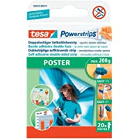 tesa Powerstrips POSTER - Double-Sided Adhesive Strip for Posters - Self-Adhesive Picture Hanging Strips, Tapered - Holds up to 200 g - Pack of 20