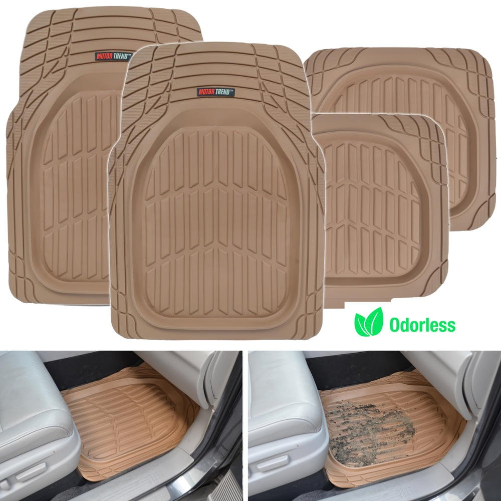 All Weather Protection Deep Dish Black Heavy Duty Rubber Floor Mats for Car SUV Van /& Truck Motor Trend MT-921-BK FlexTough Tortoise