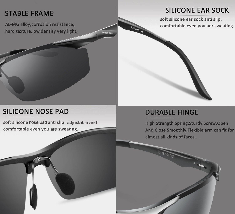 PAERDE Men\'s Sports Style Polarized Sunglasses for Men Driving Fishing Cycling Golf Running Al-Mg Metal Frame Ultra Light Glasses (Gray)