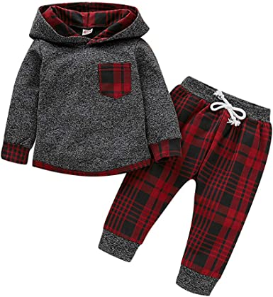Toddler Baby Boy Girls Plaid Hoodie Pocket Tops Long Pants 2Pcs Outfit Set Fall Winter Clothing Set 0-24M