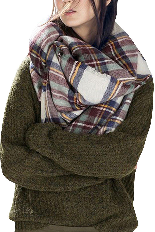 Bess Bridal Women's Plaid Blanket Winter Scarf Warm Cozy Tartan Wrap Oversized Shawl Cape Black) BB-Black1215