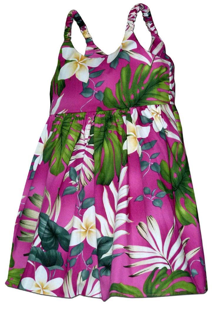 Pacific Legend Girls Frangipani Monstera Fern Toddler Bungee Dress Pink 3-4 for 2yrs old