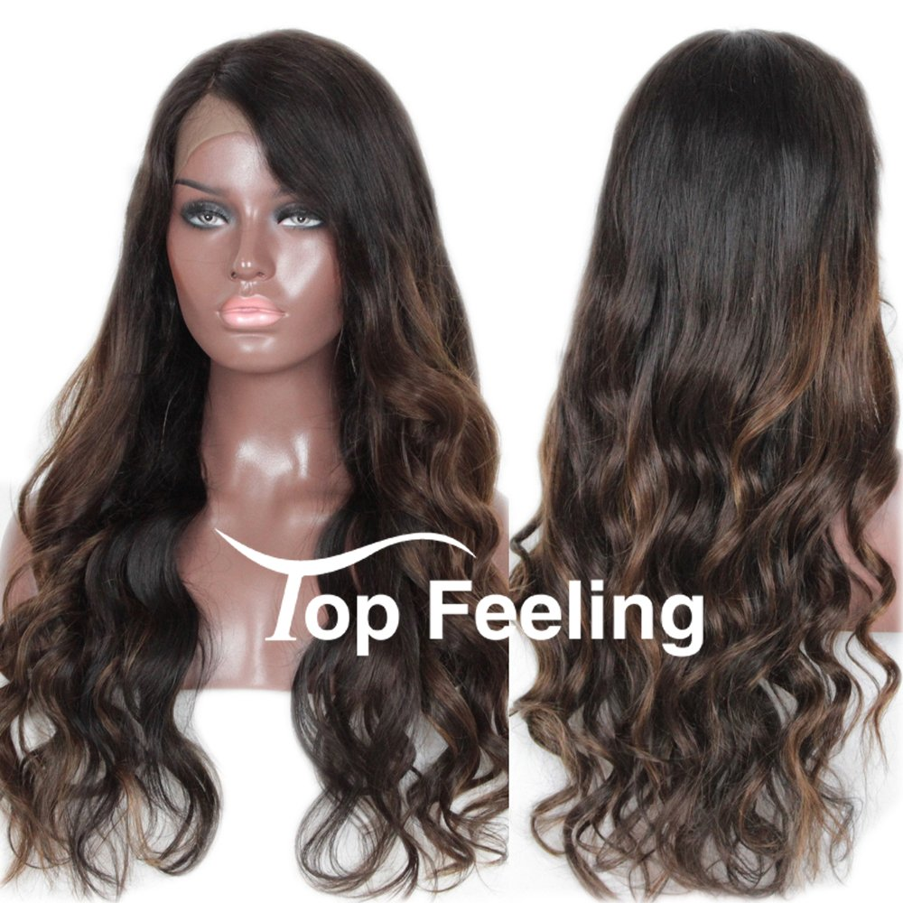TopFeeling Brazilian Virgin Hair Glueless Lace Front Human Hair Wigs For Black Women Ombre Highlight Lace Front Wigs Body Wave Top Feeling Hair