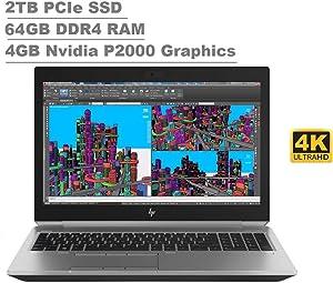 "2020 HP ZBook 15 G5 15.6"" UHD 4K Touchscreen (3840x2160) Mobile Workstatioptn Laop (Intel 6-Core i7-8850H, 64GB RAM, 2TB PCIe SSD, Quadro P2000) Thunderbolt 3, Fingerprint, Backlit, Windows 10 Pro"