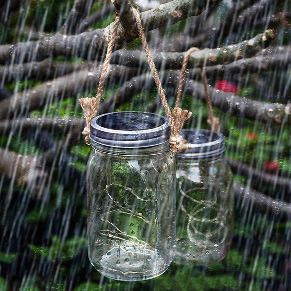 Solar Mason Jar Lights, Adecorty Outdoor Hanging Lights 2 Pack 20 LED String Fairy Star Firefly Jar Lights (Jars & Hangers Included) Warm White Waterproof Solar Lanterns for Garden Patio Outdoor Decor by Adecorty (Image #6)