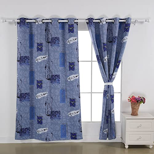 Deconovo Grommet Top New York Bedroom Window Blackout Digital Print Thermal Insulated Curtain, 52×84 Inch, Blue