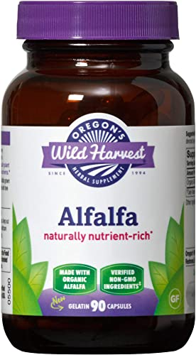 Oregon s Wild Harvest Non-GMO Alfalfa Capsules Organic Herbal Supplements, 90 Count