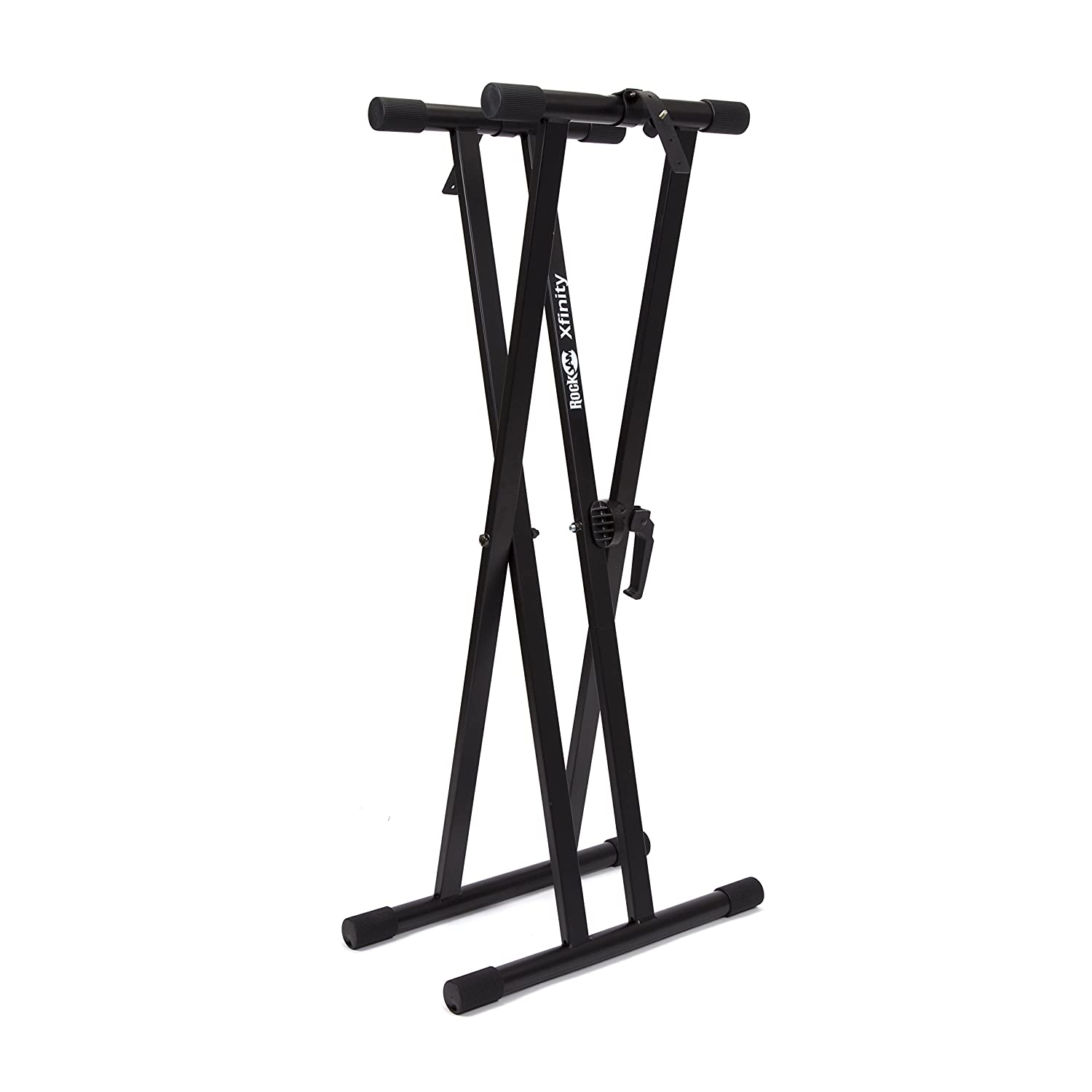 keyboard music stand black electric piano rack adjustable double x plus bench ebay. Black Bedroom Furniture Sets. Home Design Ideas
