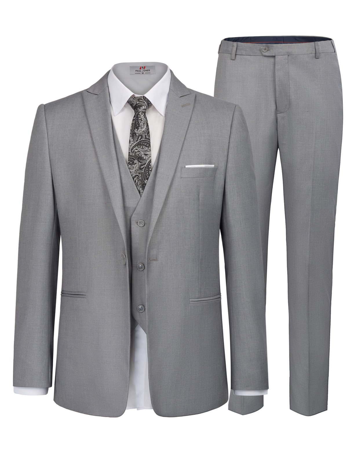 PAUL JONES Mens 3-Piece Suit Solid Modern Fit Single Breasted Formal Suits Size XL Grey