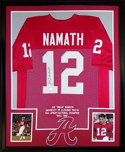 Joe Namath Alabama Crimson Tide Autograph Signed Custom Framed Jersey Stats  GTSM Namath Certified adea51cc6