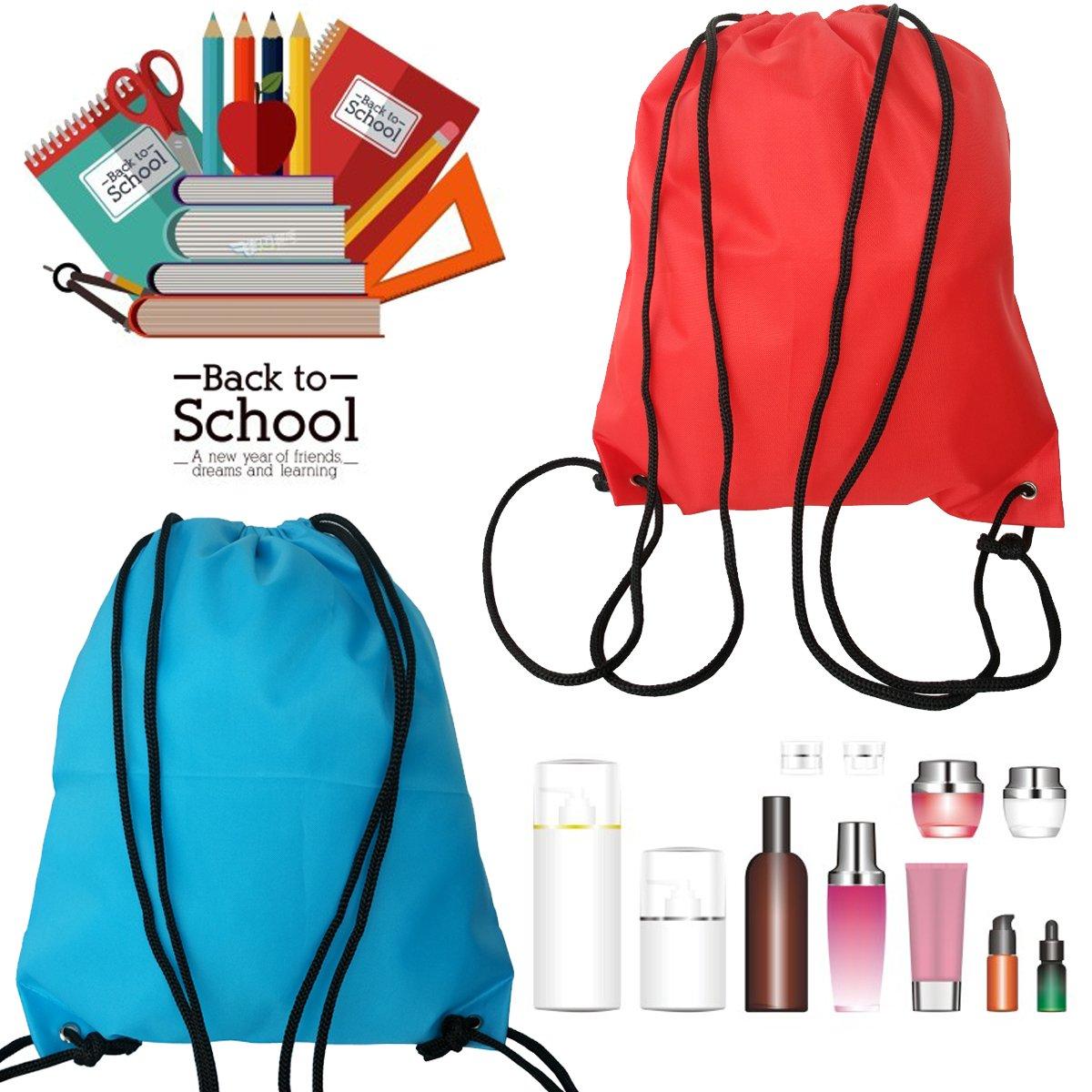 6 Pack Drawstring Backpack Bags 420D polyester fabric Folding Shoulder Cinch Bag by Topspeeder (Image #6)
