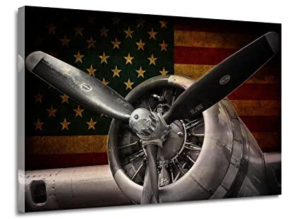 Canvas Prints Wall Art Decor Vintage Airplane / Aircraft Retro USA Flag Old  Fashioned Style Plane