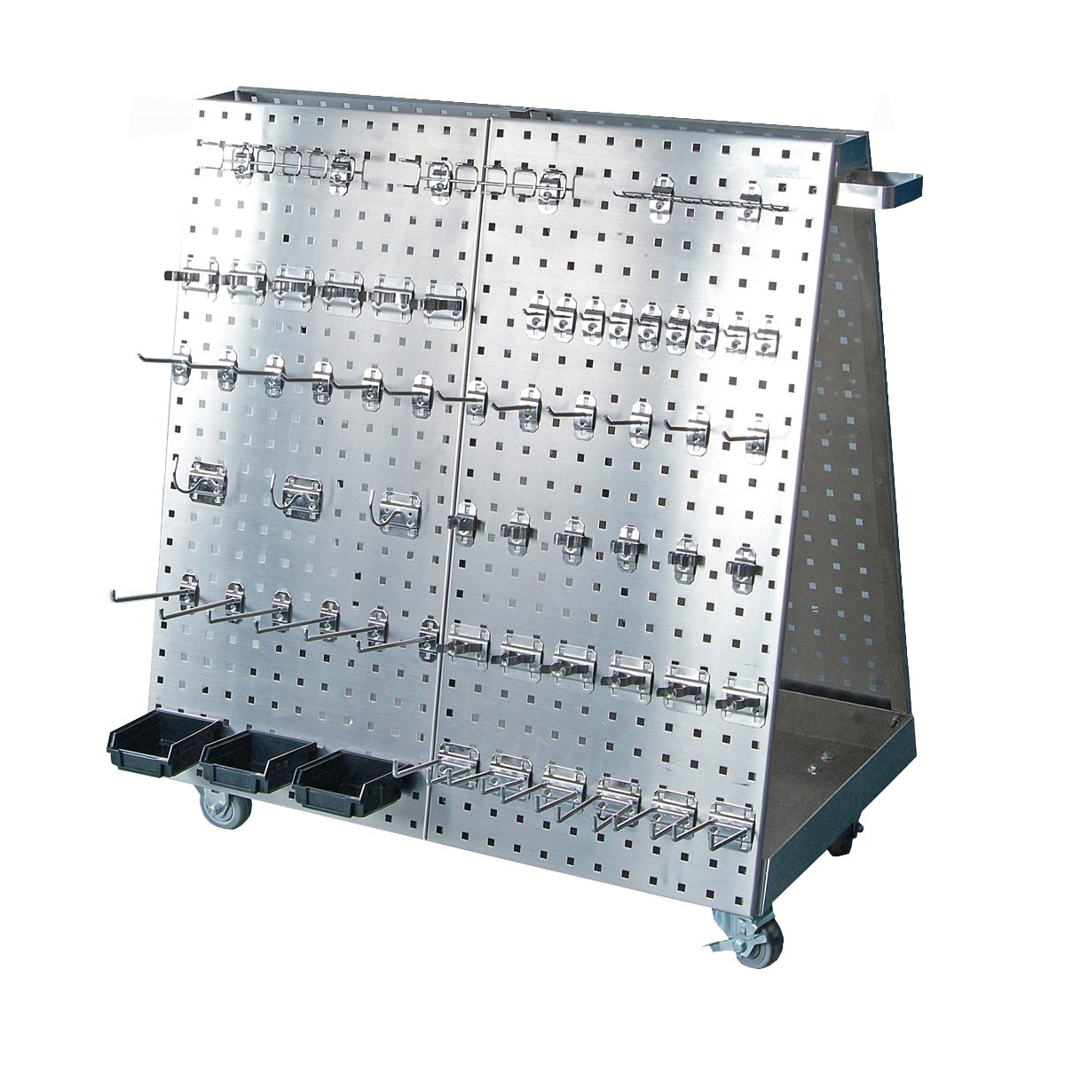 Triton Products 36-3/4 In. L x 39-1/4 In. H x 21-1/4 In. W Anodized Aluminum Frame SS LocBoard Tool Cart with Tray, 60 pc SS LocHook Asst & 3 Hanging Bins