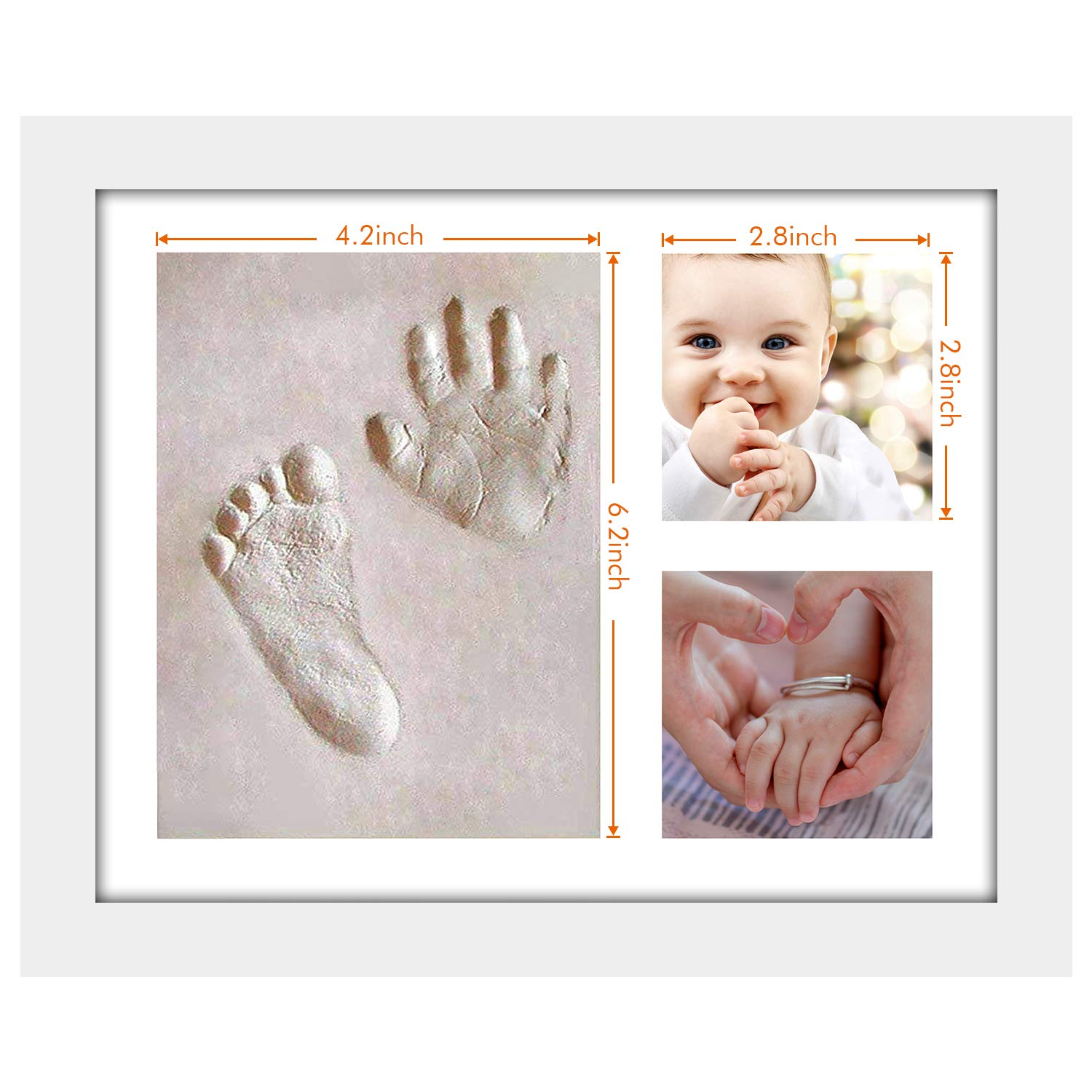 One Wall Baby Handprint Footprint Frame Kit Newborn Babyprints Keepsake Photo Frame With Non Toxic Clay For Wall Tabletop Gift For New Mom White Amazon In Baby