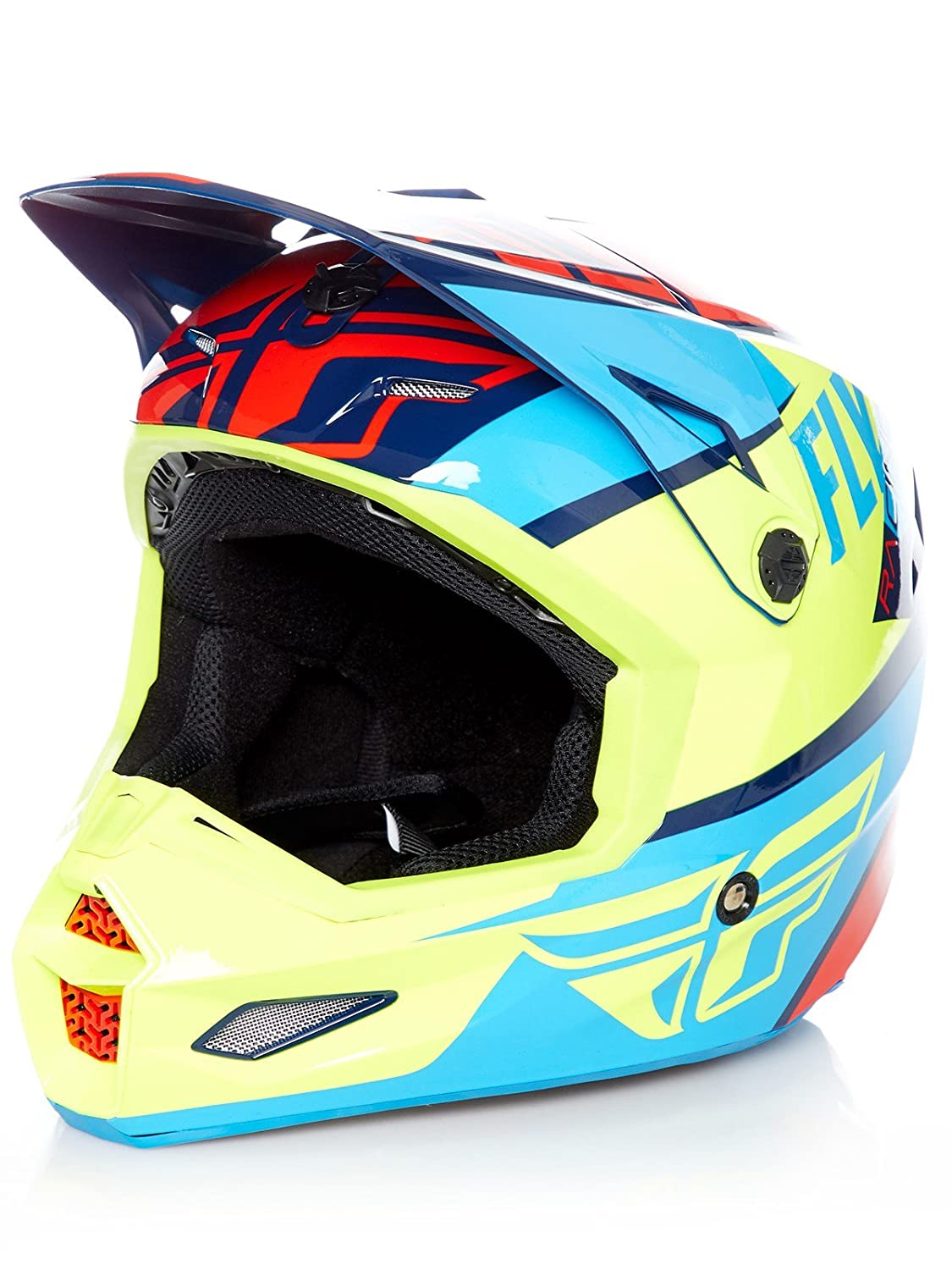 Amazon.es: Casco Mx Fly Racing 2018 Elite Guild Rojo-Azul-Hi-Viz (L, Rojo)