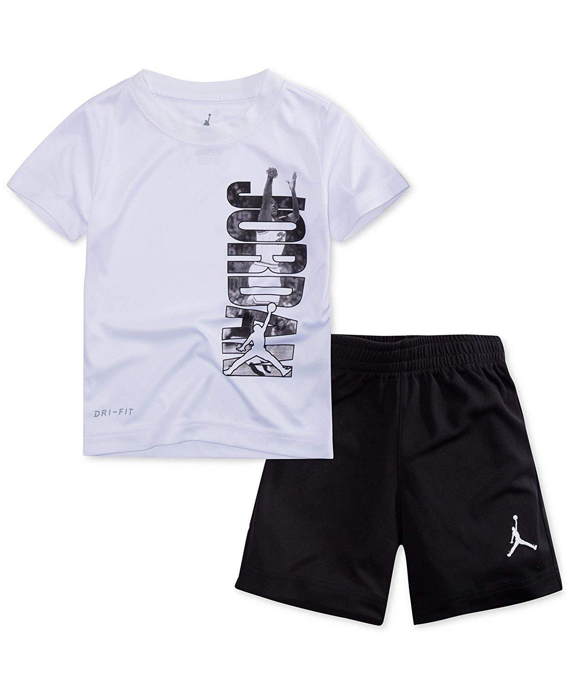 9093ef809442 NIKE Jordan Air Jordan Boy`s T-Shirt and Shorts 2 Piece Set  (White(854816-098) Black