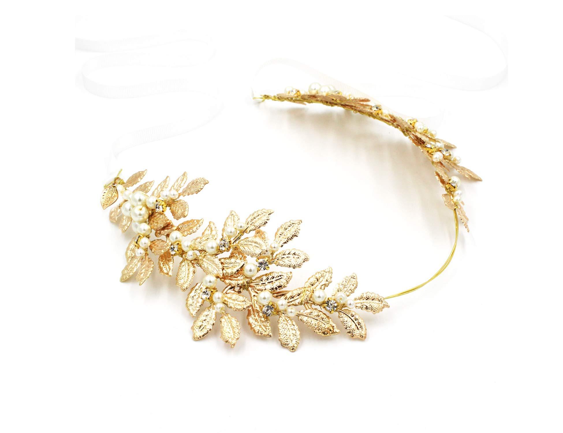 Roman Goddess Leaf Branch Dainty Bridal Hair Crown Head Dress Boho Alice Band with White Ribbon (Pearl Ribbon Headband) by OUMOU