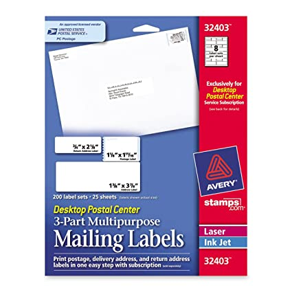 amazon com avery stamps com desktop postal center 3 part multi