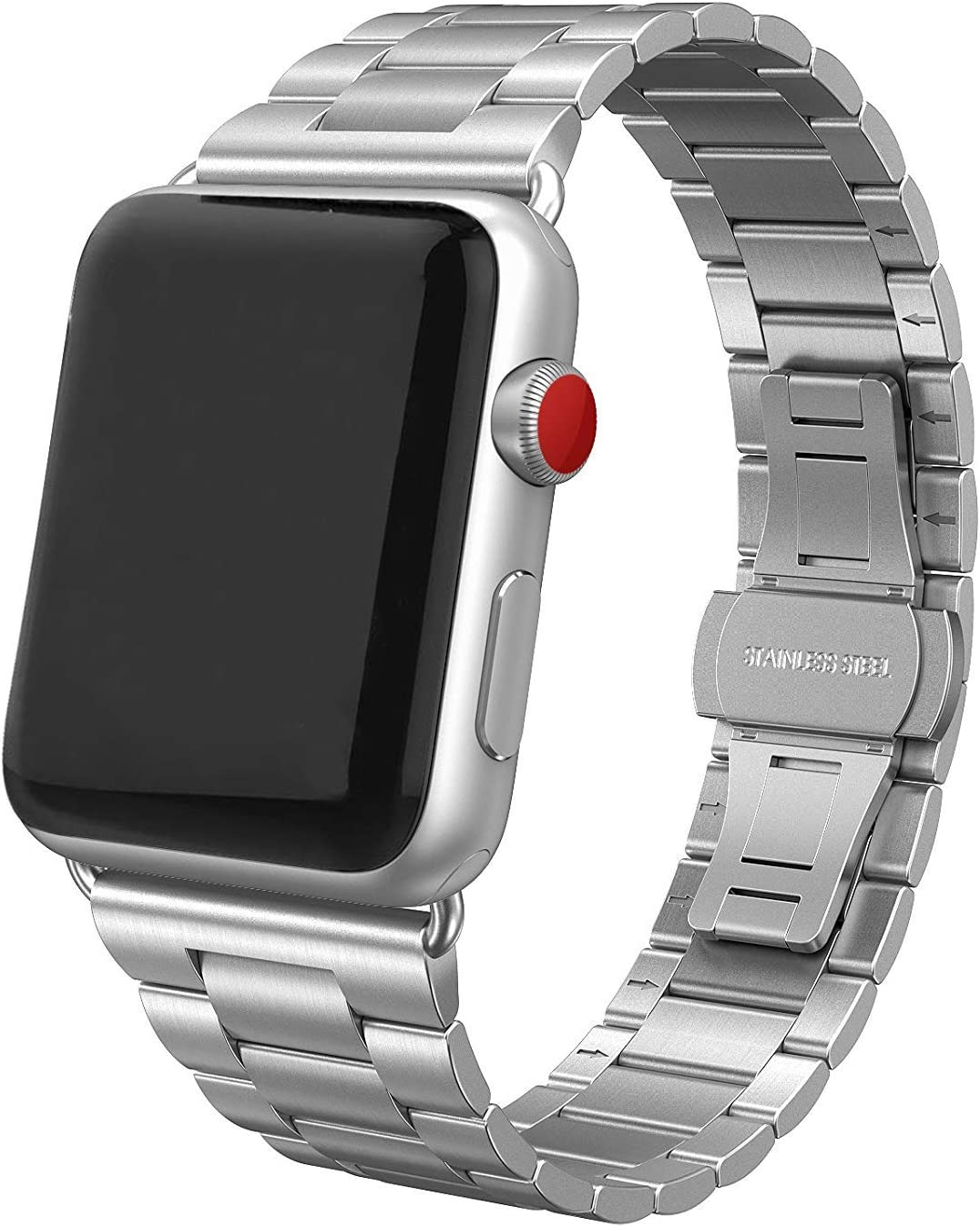 SWEES Stainless Steel Metal Bands Compatible with iWatch 42mm 44mm Series 6 Series 5 Series 4, Series 3, Series 2, Series 1 SE Sports & Edition, Replacement Ultra Thin Slim Link with Metal Clasp, Silver
