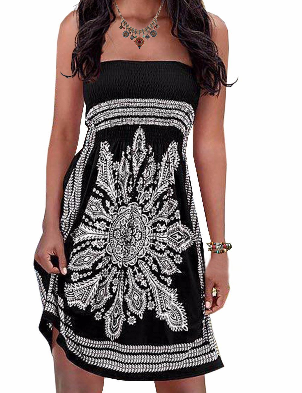 Initial Inital Women's Bathing Suit Cover-up Dress Casual Summer Dress Black, XS