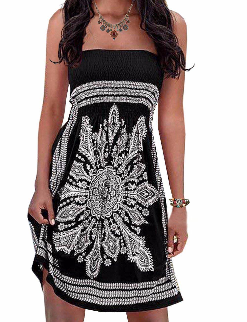 Initial Women's Coverup Dress Bohemian Beach Dress Strapleess Floral Print Cover-up Dress, Black2, Medium
