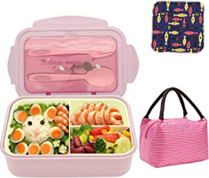 Bento Boxes Leakproof Food Containers for Kids& Adults,1400ML BPA-Free and Food-Safe Cute Meal Prep Lunch Box with Lunch Bag, Spoon & Fork 3 Compartment, Microwave Freezer Dishwasher Safe-Pink Set